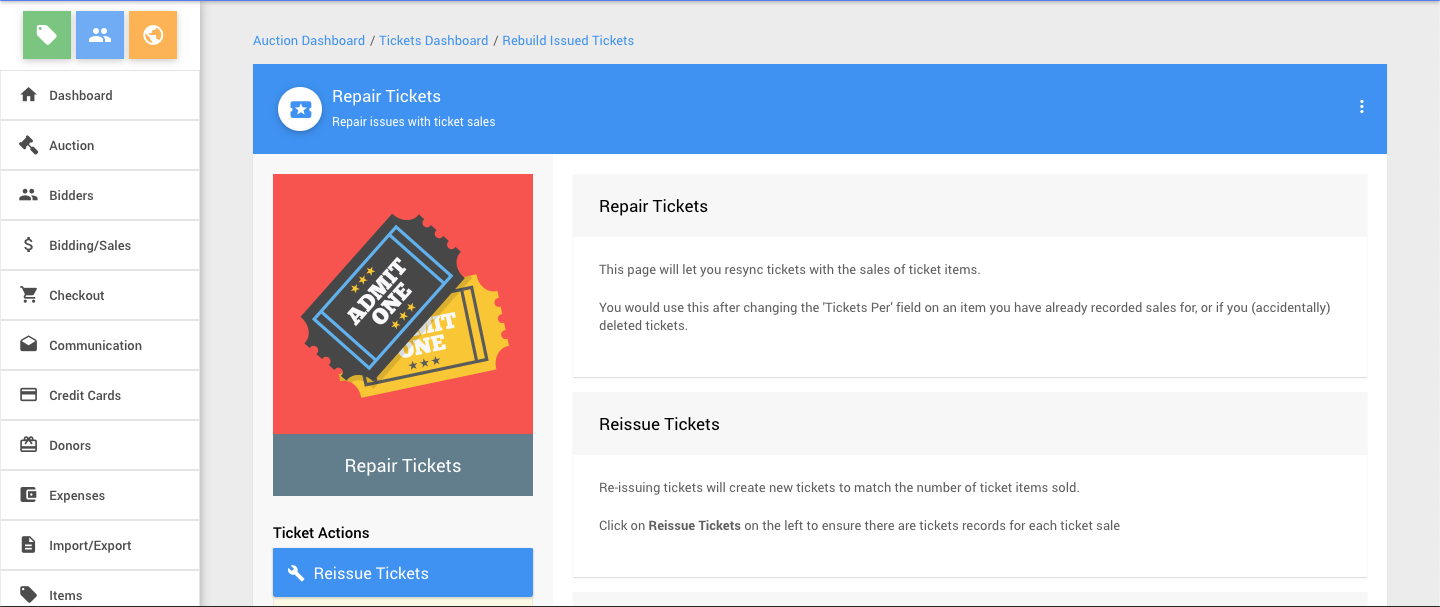 Fix A Ticket >> How To Fix Tickets Without Admissions Auctria